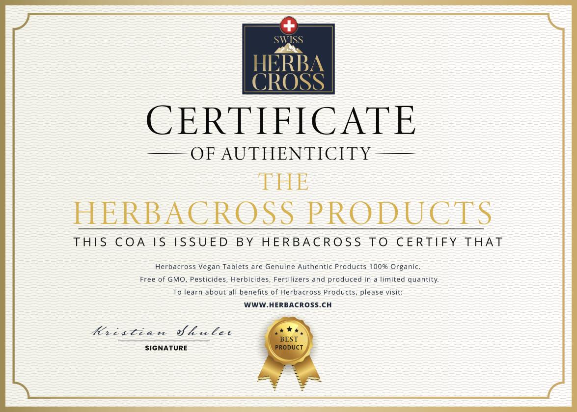 Herbacross - сертификат